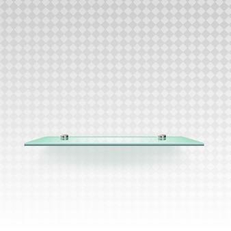Glas isoliertes leeres regal für ausstellungsvektorillustration