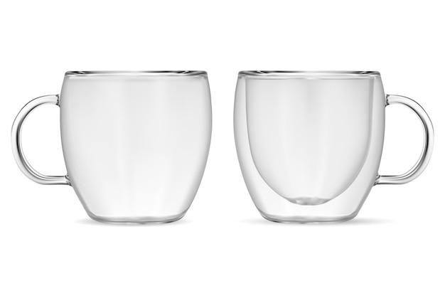 Glas. kaffeebecher. realistische klare teetassen.