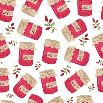 Glas marmelade nahtlose muster. nette gemütliche textur für textilien, geschenkpapier. handgezeichnete vektorgrafik