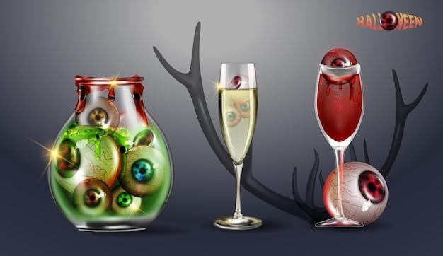 Glas mit augen. cocktail aus blut mit einem auge. vektor-illustration glückliches halloween-set. kann für poster, banner, grußkarten, aufkleber, flyer oder hintergrund verwendet werden.