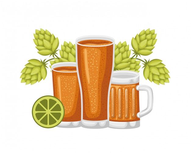 Glas mit bier isoliert symbol