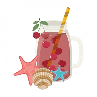 Glas mit erfrischungsgetränk für den sommer