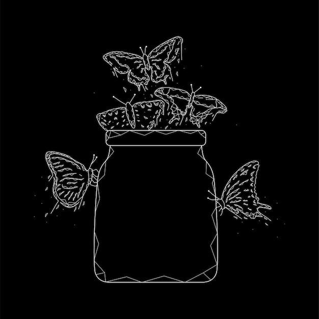 Glas mit geometrischer vektorillustration der schmetterlinge auf einem schwarzen hintergrund.