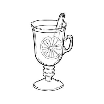 Glas mit glühwein auf weißem hintergrund. handgezeichnete vektorillustration.