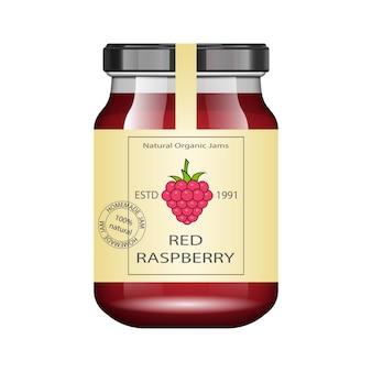 Glas mit himbeermarmelade und konfigurieren. verpackungssammlung. vintage label für marmelade. bank realistisch.