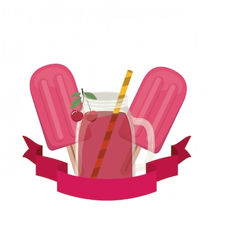 Glas mit kirsch- und strohgetränk