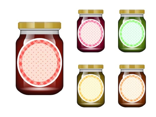 Glas mit marmelade und konfigurieren. verpackungssammlung. etikett für marmelade. bank realistisch.