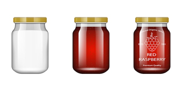 Glas mit marmelade und mit himbeere konfigurieren. verpackungssammlung. etikett für marmelade. bank realistisch.