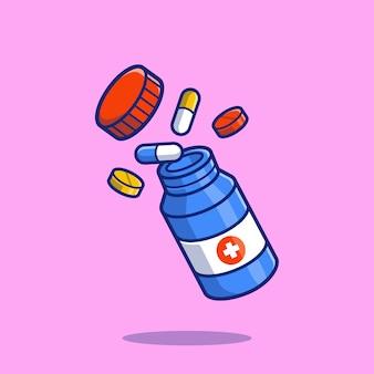 Glas mit pillen und tabletten cartoon icon illustration. gesundheitsmedizin-symbol-konzept isoliert. flacher cartoon-stil