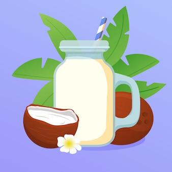 Glas mit smoothie-kokosnuss-shake-cocktail mit einem strohhalm. palmblätter und blume. natürliches tropisches nussgetränk.