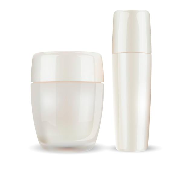 Glas oder glänzende plastikcreme mit geschlossenem deckel