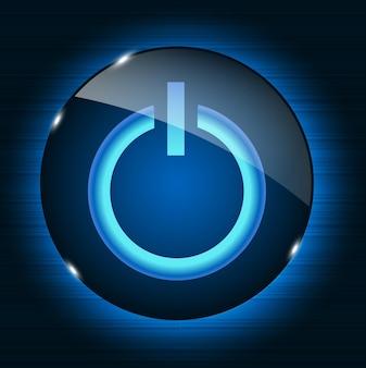 Glas-power-button-symbol auf abstrakten hintergrund. vektorillustration
