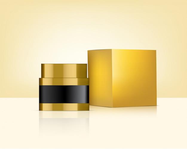 Glas-realistische goldkosmetik und kasten für hautpflege-produkt-illustration. gesundheitswesen und medizin.