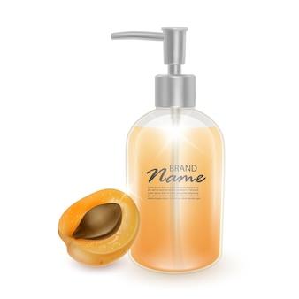 Glas shampoo oder flüssigseife mit dem duft von aprikosen