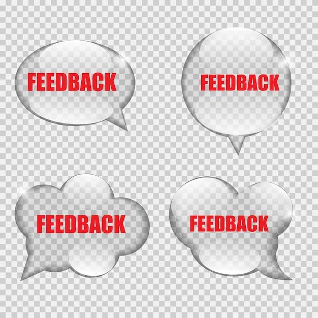 Glas transparenz feedback sprechblase vektor illustration eps10