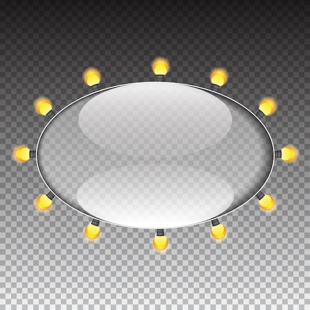 Glas-transparenz-rahmen mit glühbirne-vektor-illustration