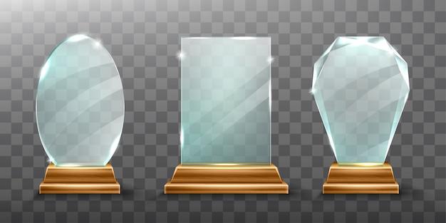 Glas trophäe oder acryl gewinner auszeichnung realistisch