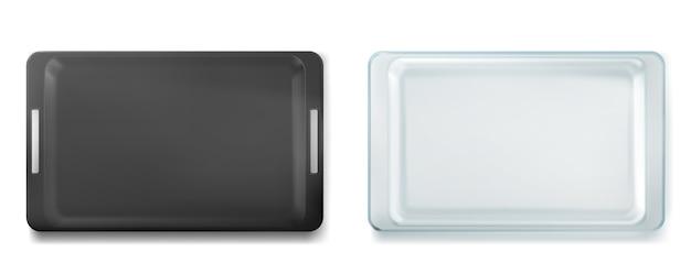 Glas- und metallschalen zum backen von draufsicht, leere blech- und glaswarenpfannen, isolierte formen. küchenutensilien für ofen, feuerfeste gerichte für rohen teig, backen kochen, realistische 3d-illustration