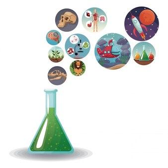Glasbecherformel mit ikonen mit bildweltentwicklung in den blasen
