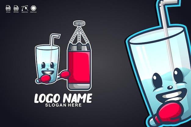 Glasboxen niedliches maskottchen-charakter-logo-design