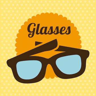 Glasdesign über gelber hintergrundvektorillustration