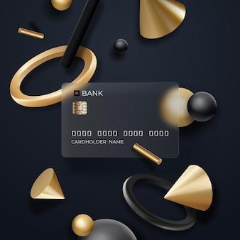 Glaseffekt-bankkarte mit fließenden realistischen geometrieelementen auf dunklem hintergrund