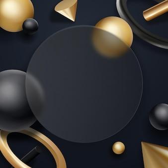 Glaseffektkreis mit fließenden realistischen geometrieelementen auf dunklem hintergrund