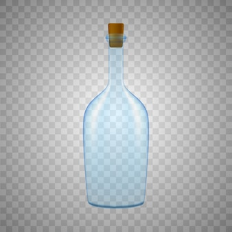 Glasflasche auf weißem hintergrund