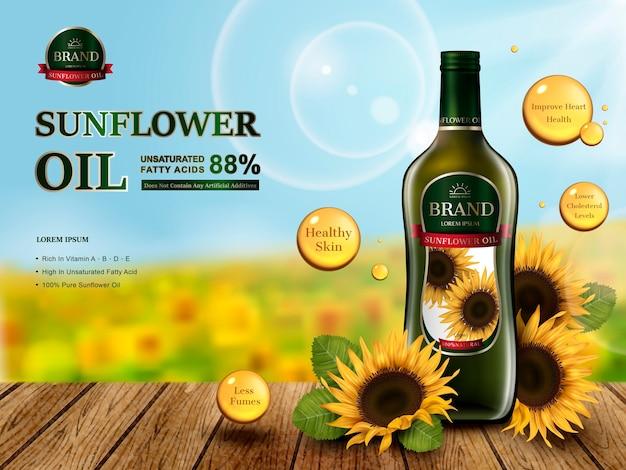 Glasflasche mit sonnenblumenöl, sonnenblumenfarm