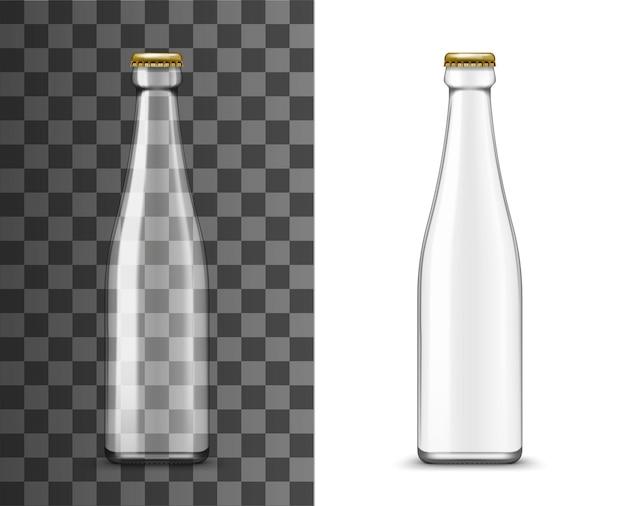 Glasflasche, realistisches verpackungsvektormodell. leerer transparenter flaschenbehälter mit metallkappe oder kronkorken, isolierte 3d-packung mit flüssigem produkt, alkoholgetränk, wasser, bier oder saftglas