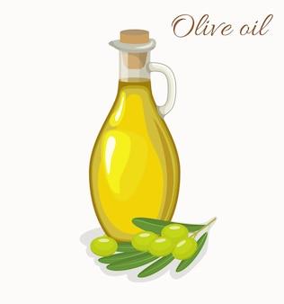 Glasflaschenkrug olivenöl und oliven mit blättern