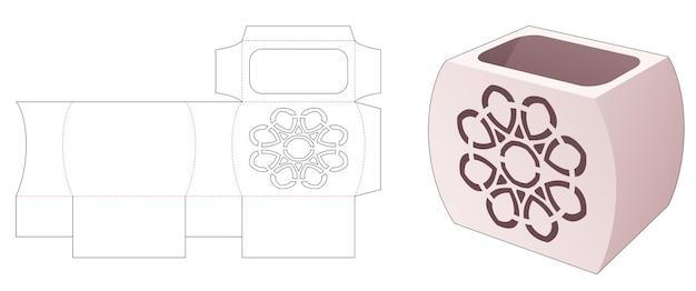 Glasförmige schachtel mit gestempelter mandala-stanzschablone