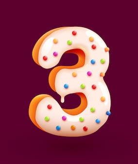 Glasierte donut-schriftart nummer drei kuchendessert-stil-sammlung leckerer bäckereinummern mit sahnejubiläum und geburtstagskonzeptillustration