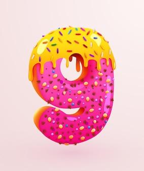 Glasierte donut-schriftart nummer neun kuchendessert-stil-sammlung leckerer bäckereinummern mit sahnejubiläum und geburtstagskonzeptillustration