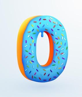 Glasierte donut-schriftart nummer null kuchendessert-stil-sammlung leckerer bäckereinummern mit sahnejubiläum und geburtstagskonzeptillustration