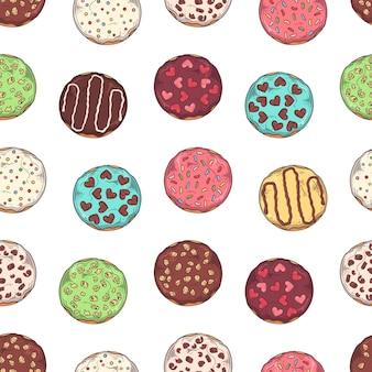 Glasierte krapfen mit belag, schokolade und nüssen.