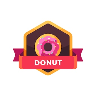 Glasierter rosa donut. fast-food-etikett
