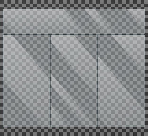 Glasklare glasfensterschaukasten lokalisierte vektorillustration