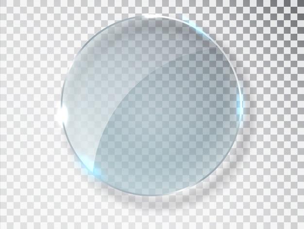 Glaskreis. realistische textur mit glanzlichtern und glanz auf der transparenten