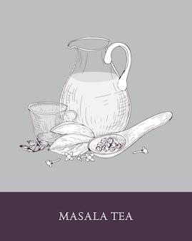 Glaskrug, tasse masala chai oder gewürztee, löffel und verschiedene indische gewürze auf grau