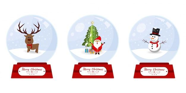 Glaskugel der frohen weihnachten mit elementsammlungsfahne