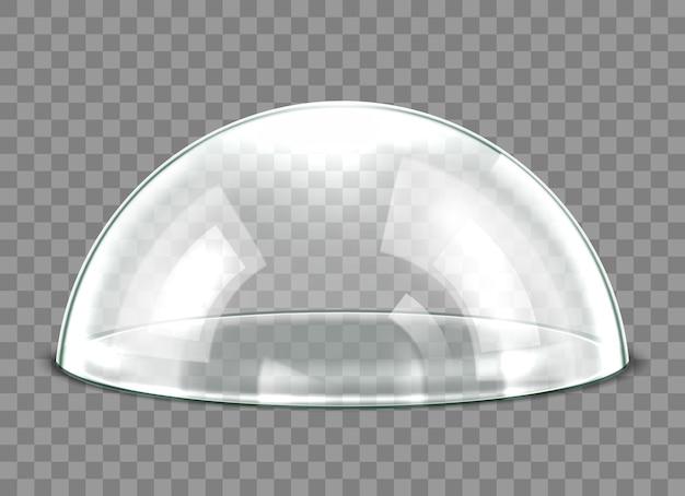 Glaskuppel auf transparentem hintergrund isoliert. realistische 3d-detaillierte kugelförmige glaskuppelabdeckung. vektor-illustration