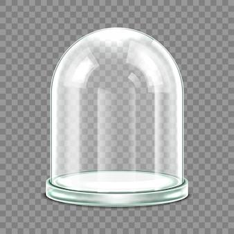Glaskuppel mit glasschale isoliert auf weißem hintergrund. realistische 3d-detaillierte kugelförmige glaskuppelabdeckung. vektor-illustration