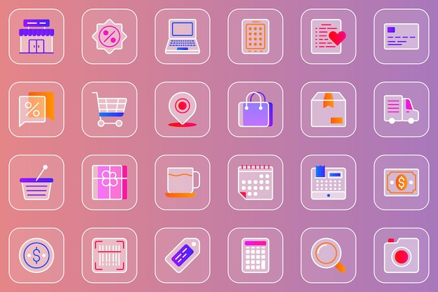 Glasmorphe ikonen des shopping-webs eingestellt