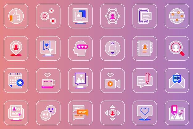 Glasmorphe symbole des sozialen netzwerks gesetzt
