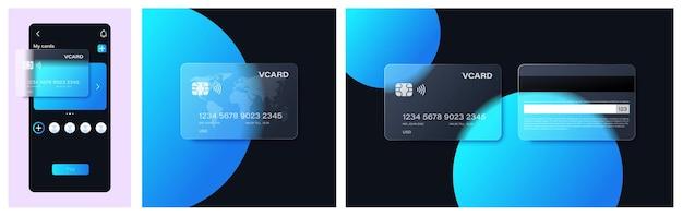 Glasmorphismus-bankkarte im beliebten