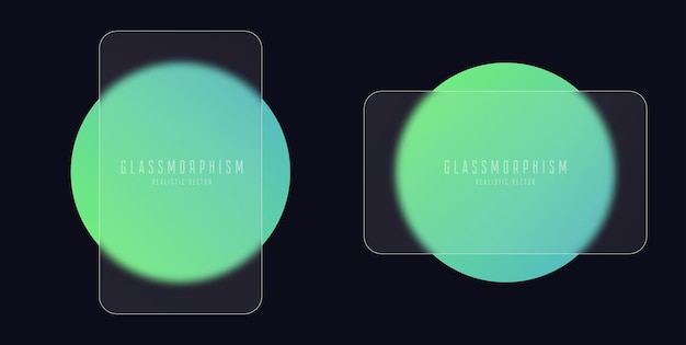 Glasmorphismus-effekt mit transparenten glasplatten auf grünen farbverlaufskreisen aus mattem plexiglas