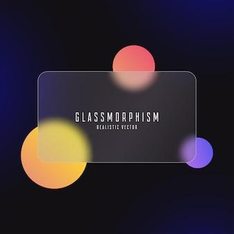 Glasmorphismus-effekt mit transparenter glasplatte mattiertes acryl oder mattes plexiglasvector
