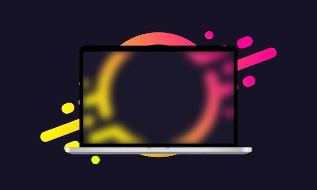 Glasmorphismus-stil. laptop-vorlage. realistischer glasmorphismuseffekt mit transparenten glasplatten.