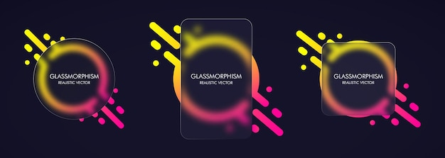 Glasmorphismus-stil. realistischer glasmorphismuseffekt mit transparenten glasplatten.